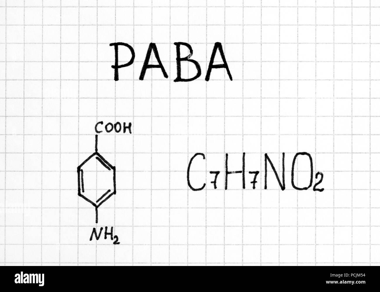 Chemical formula of PABA. Close-up. - Stock Image