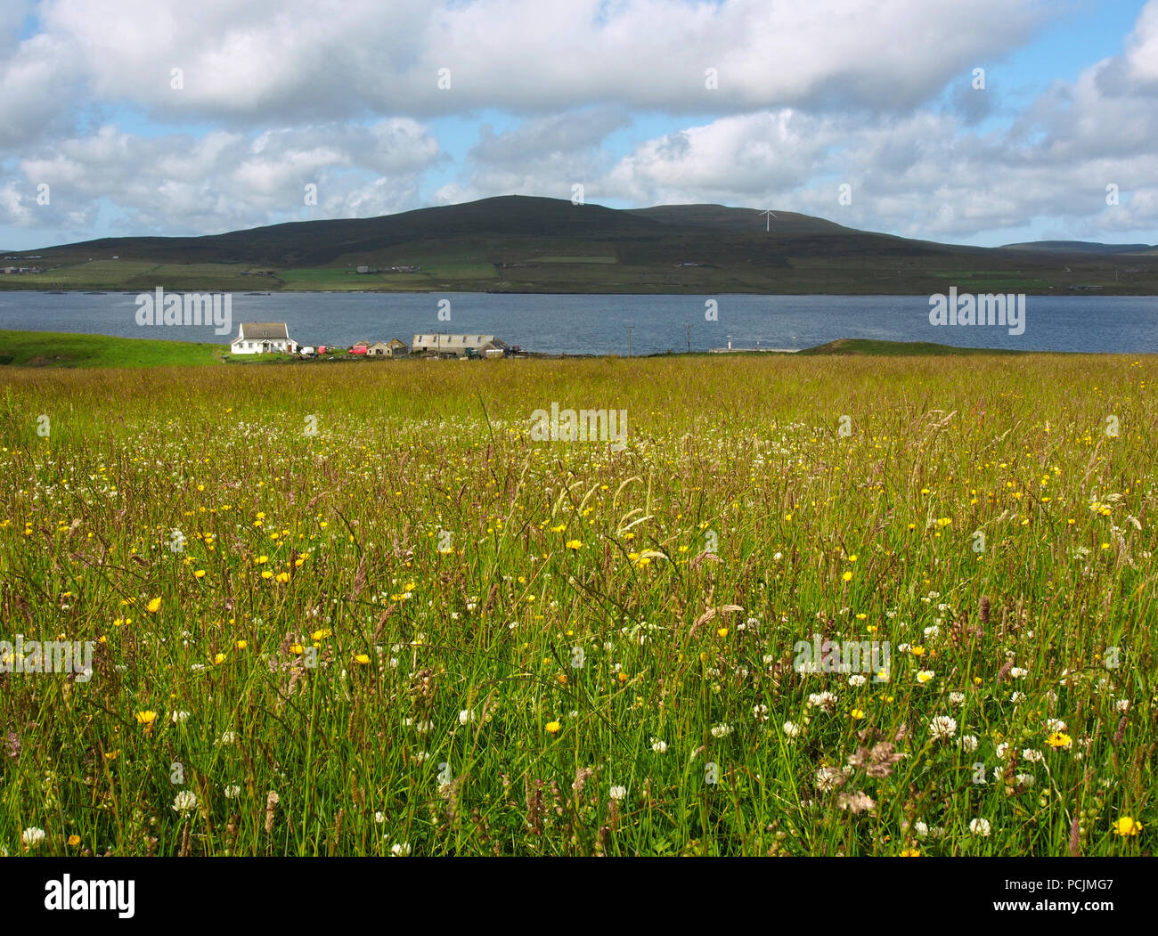 View west from Egilsay to Rousay, Orkney - Stock Image