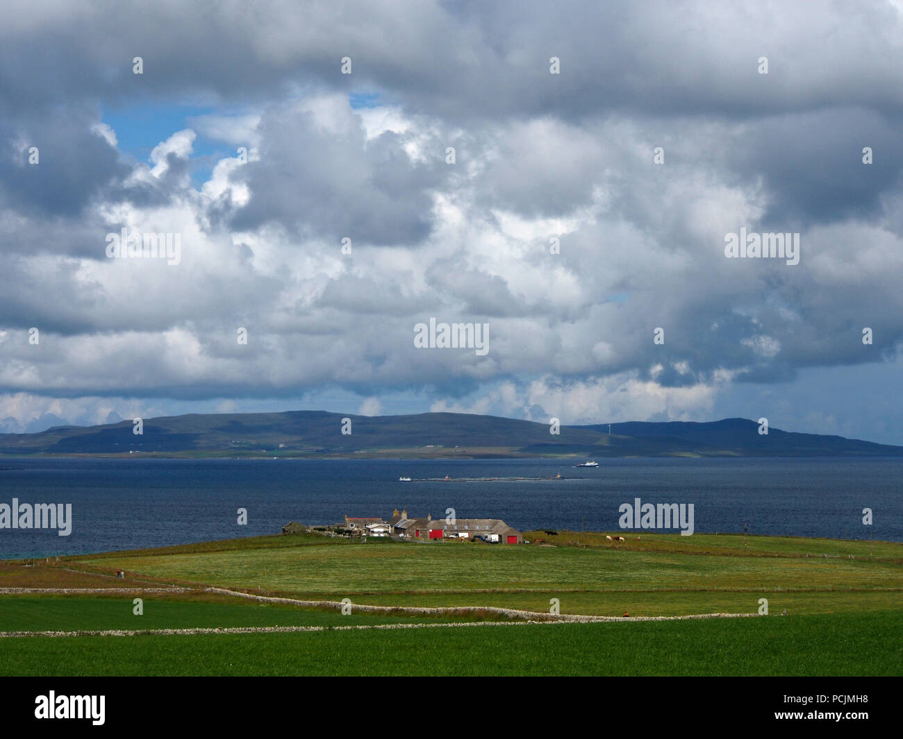 Shapinsay, Orkney, looking towards Rousay - Stock Image
