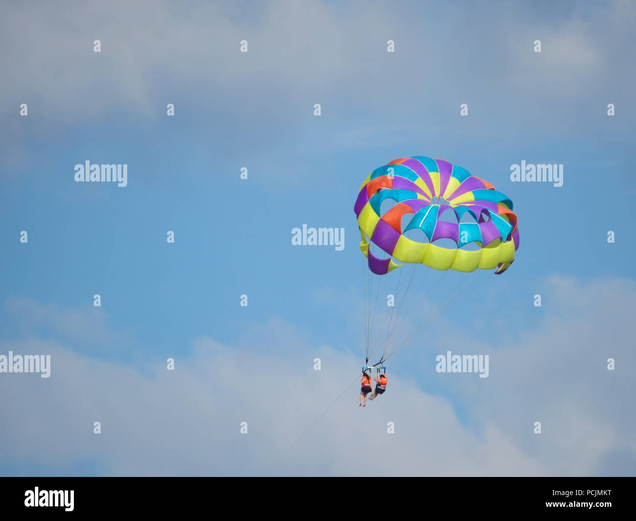 flying high from hanglider - Stock Image