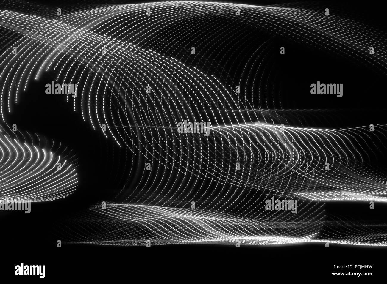 white swirls on black - Stock Image