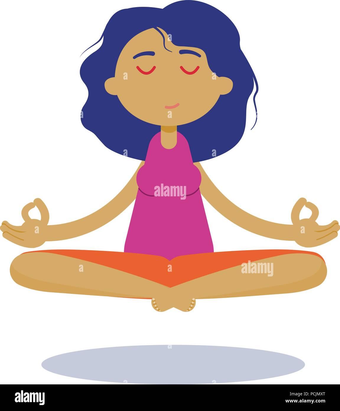 Meditation Woman Beautiful Young Character Cartoon Young Woman Practicing Yoga And Meditating Stock Vector Image Art Alamy