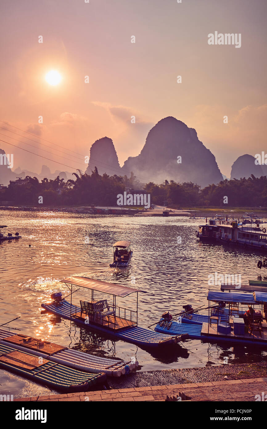 Scenic sunset over Li River in Xingping, color toning applied, China. Stock Photo