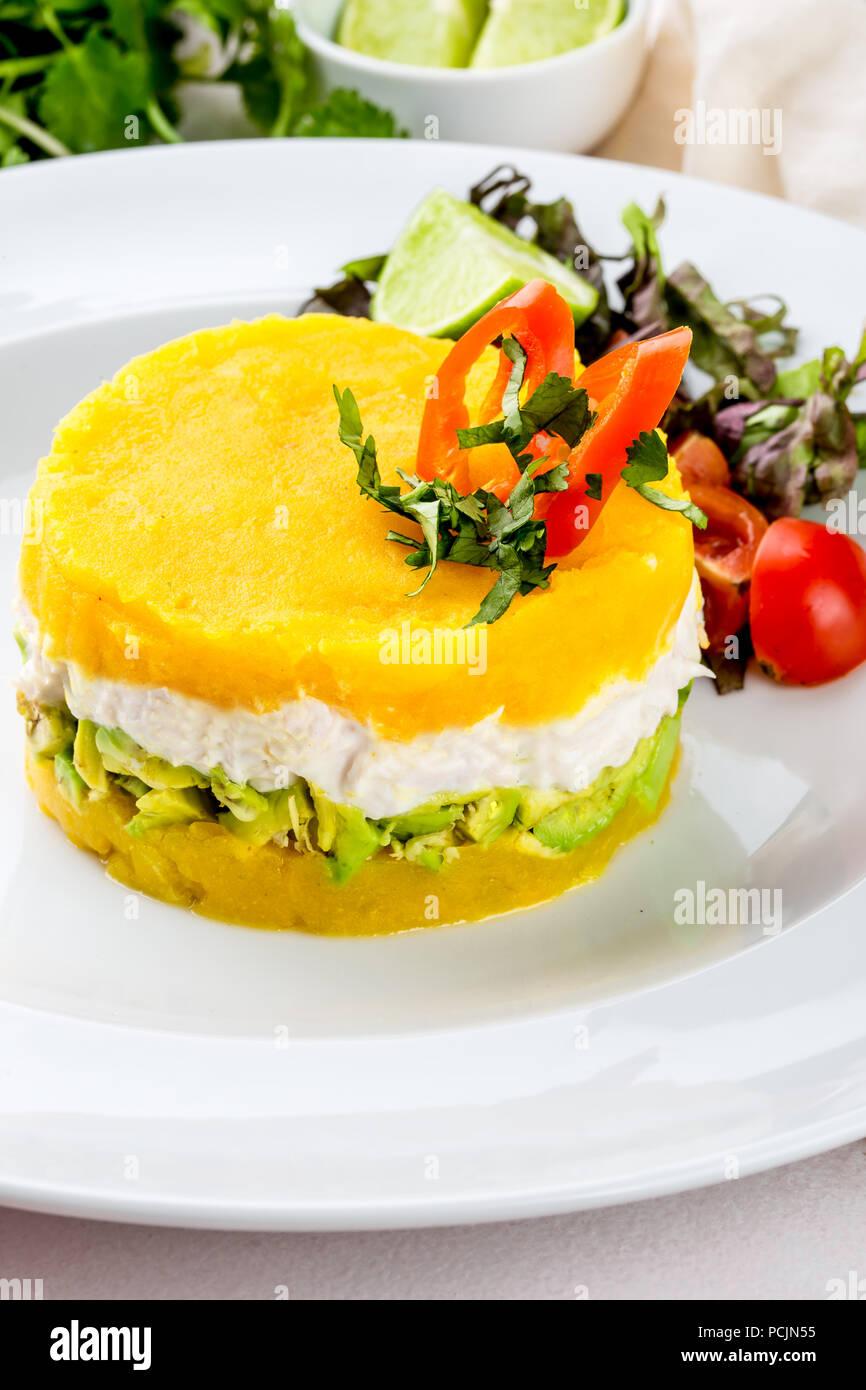 Peruvian Food Causa Rellena De Pollo Chicken Causa Rellena
