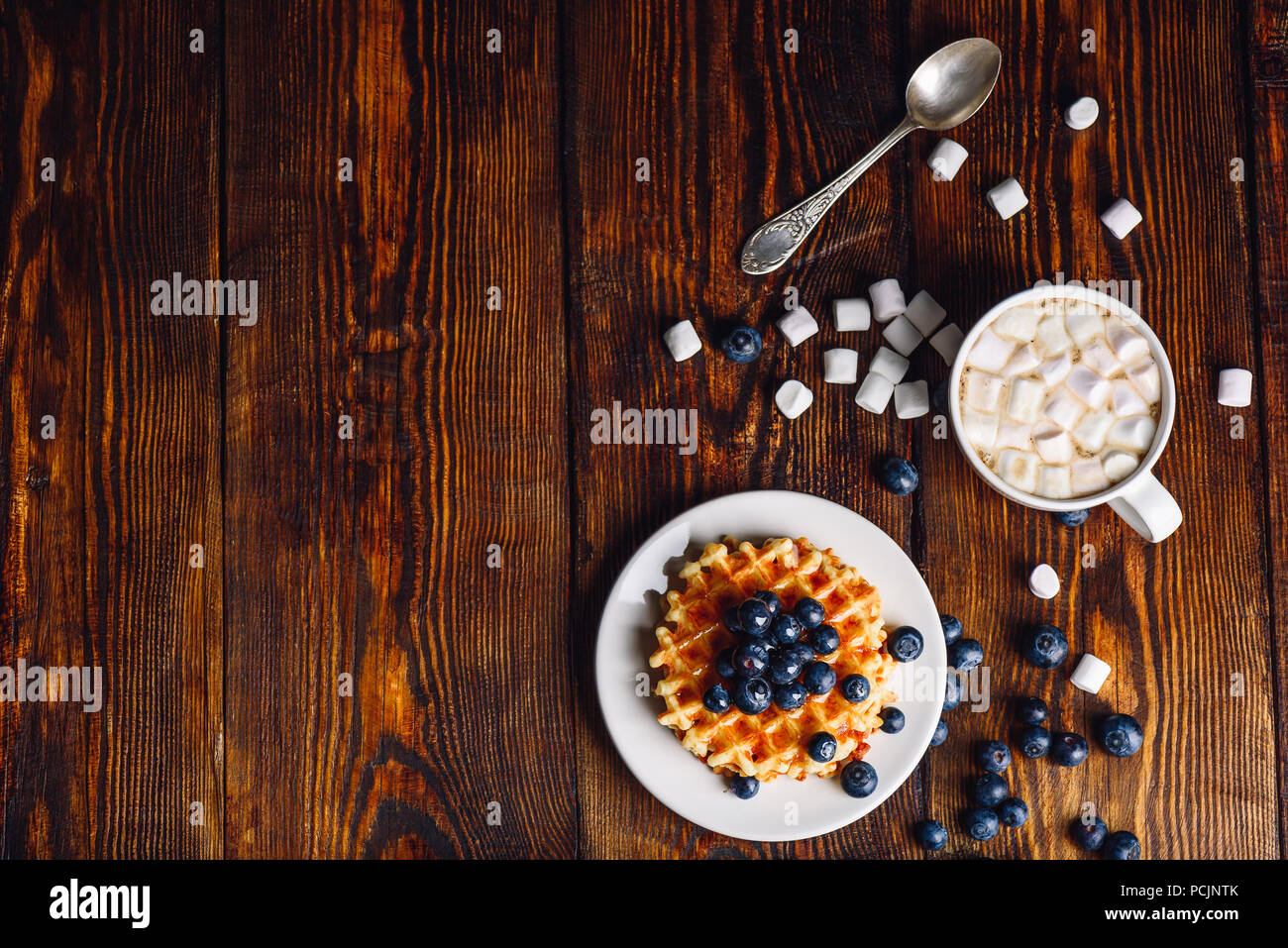 Homemade Waffles with Fresh Blueberry and Topping on Plate, Cup of Hot Chocolate with Marshmallow.Copy Space on the Left. Veiw from Above. - Stock Image