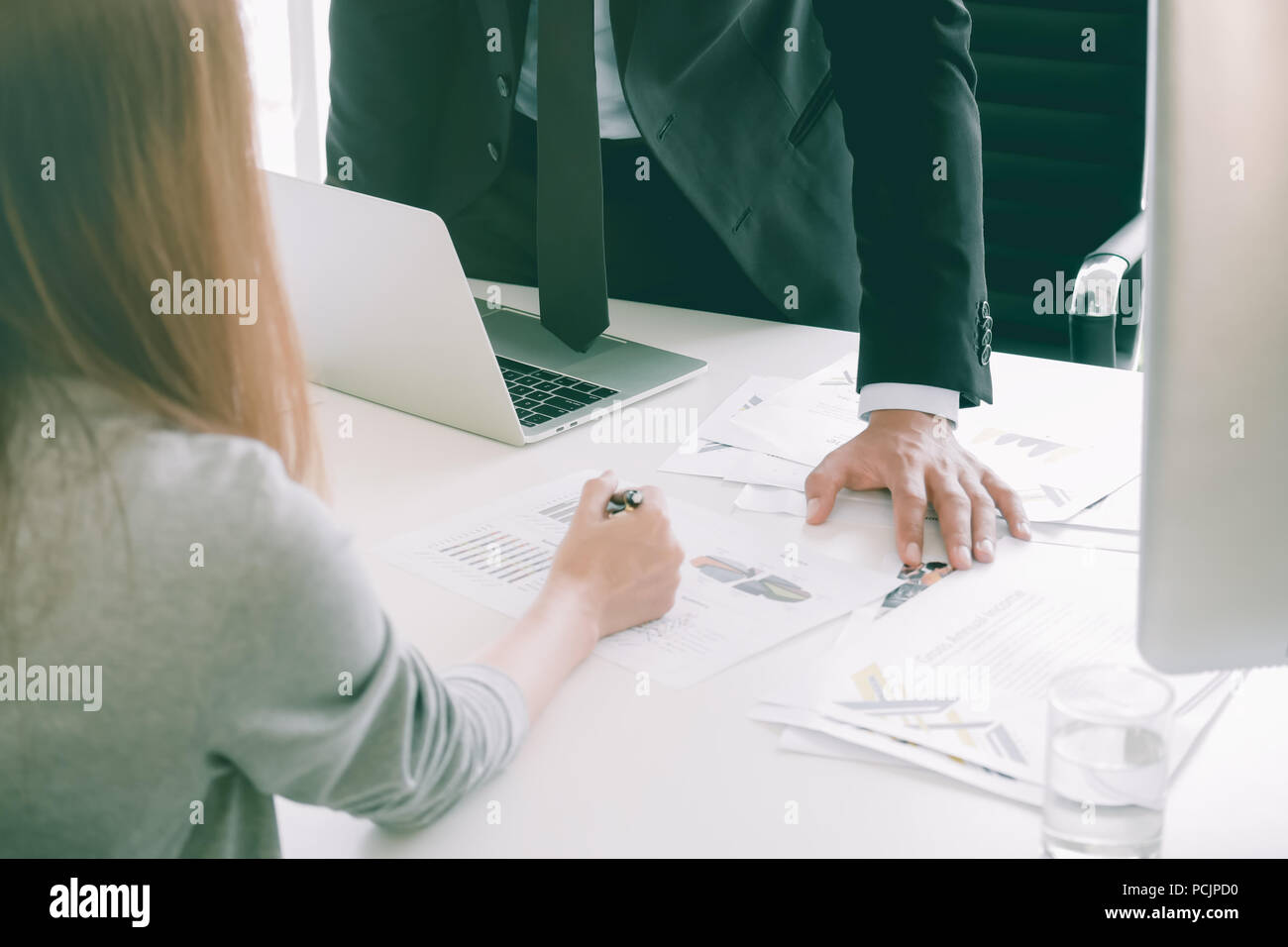 Business people discussing complain the charts and graphs - Stock Image