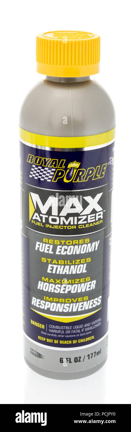 Winneconne, WI - 30 July 2018: A bottle of Royal Purple max atomizer fuel system cleaner on an isolated background - Stock Image