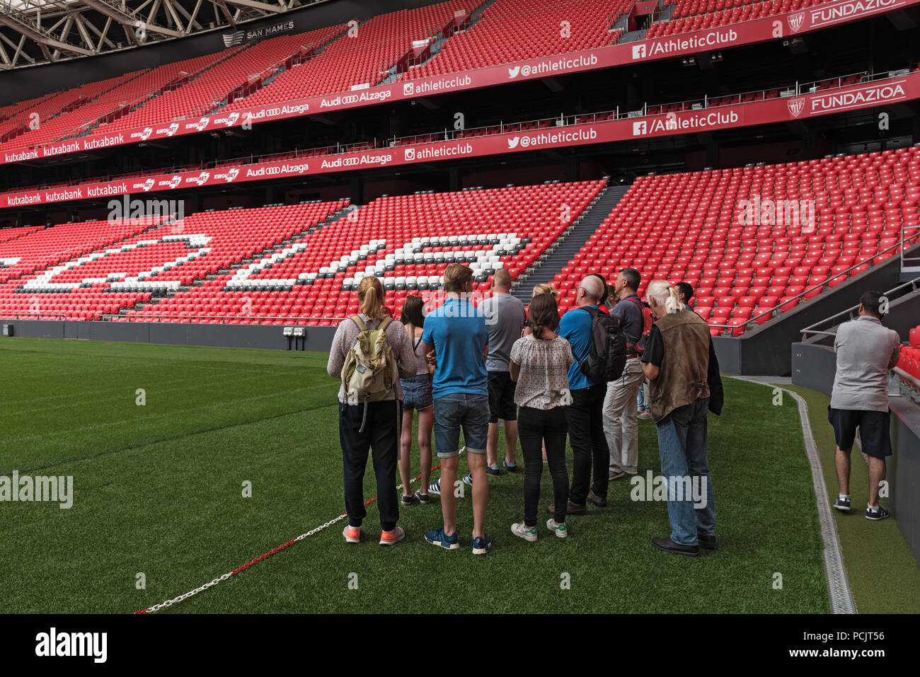 visitor group in the stadium san mames, bilbao, spain. - Stock Image