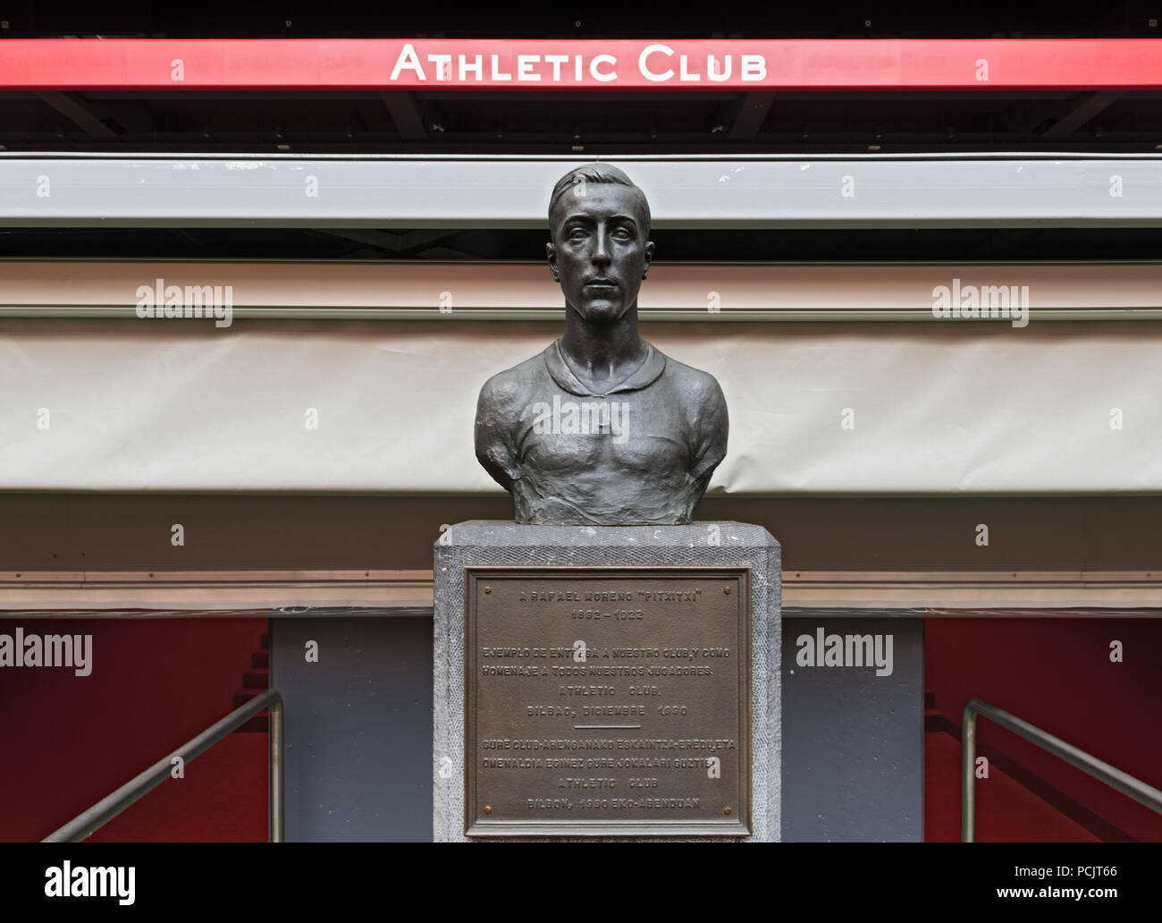 bust in memory of players pichichi, rafael moreno aranzadi in the stadium of san mames, bilbao, spain. - Stock Image