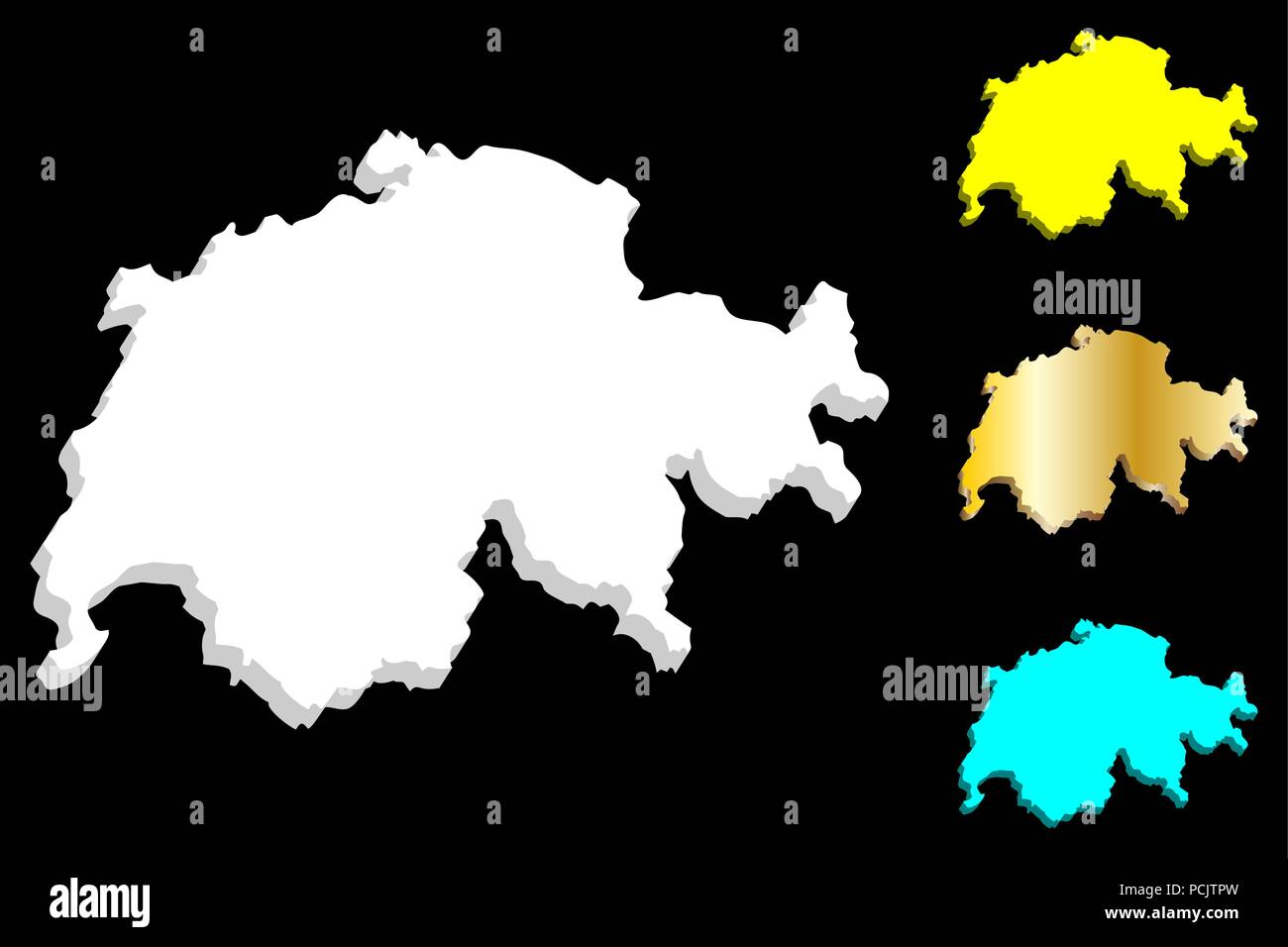 3D map of Switzerland (Swiss Confederation) - white, yellow, blue and gold - vector illustration - Stock Vector