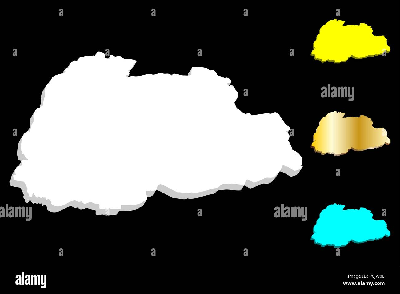 3D map of Bhutan (Kingdom of Bhutan) - white, yellow, blue and gold - vector illustration - Stock Vector