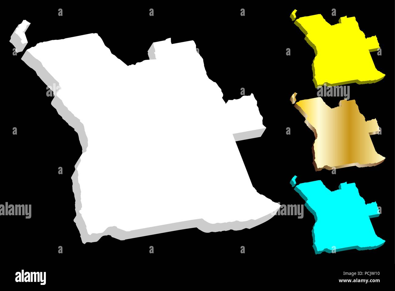 3D map of Angola (Republic of Angola) - white, yellow, blue and gold - vector illustration - Stock Image