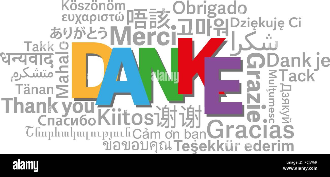 thank you word cloud in different languages with German word DANKE in center vector illustration Stock Vector