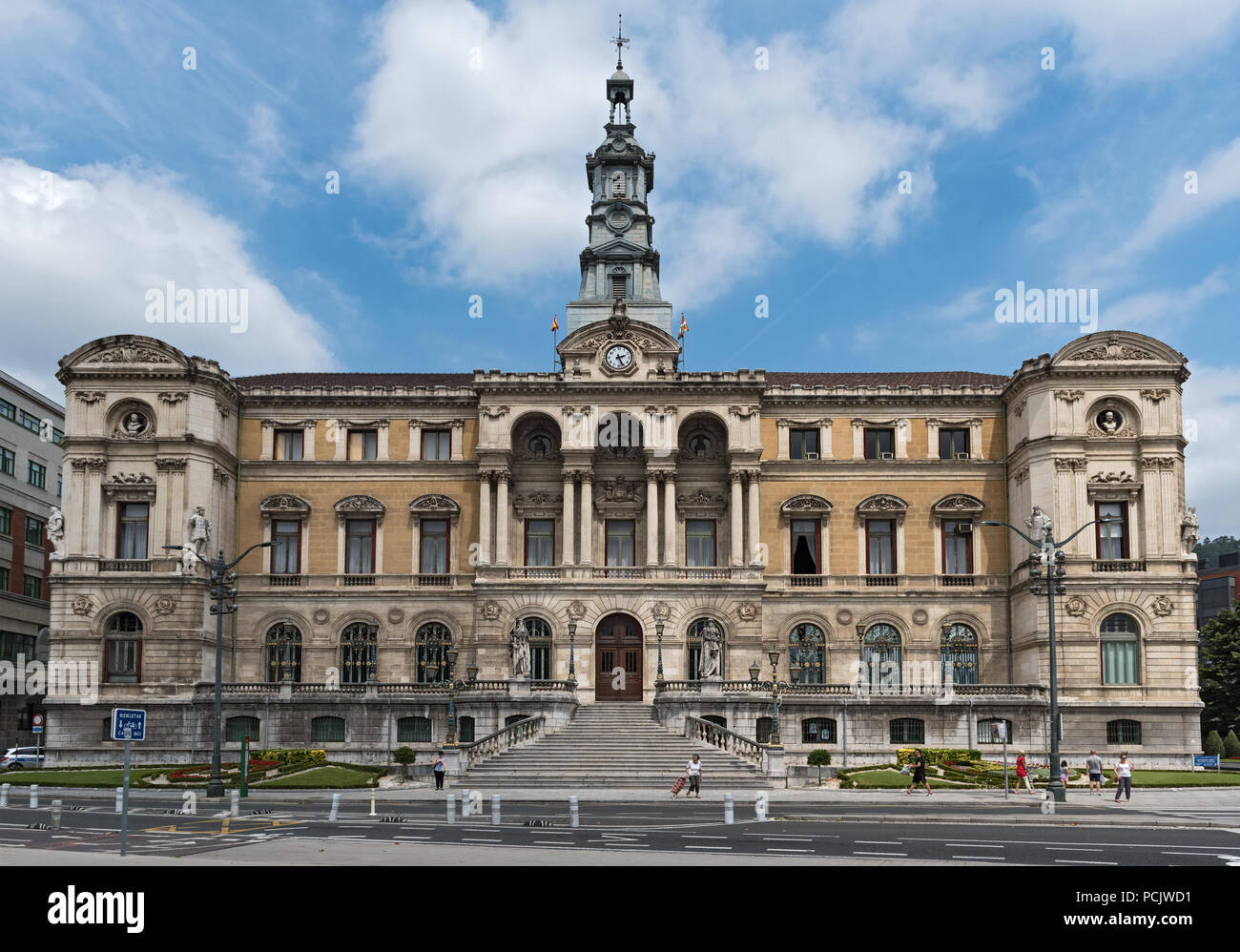 facade of the bilbao town hall at plaza ernesto erkoreka, bilbao, spain. - Stock Image