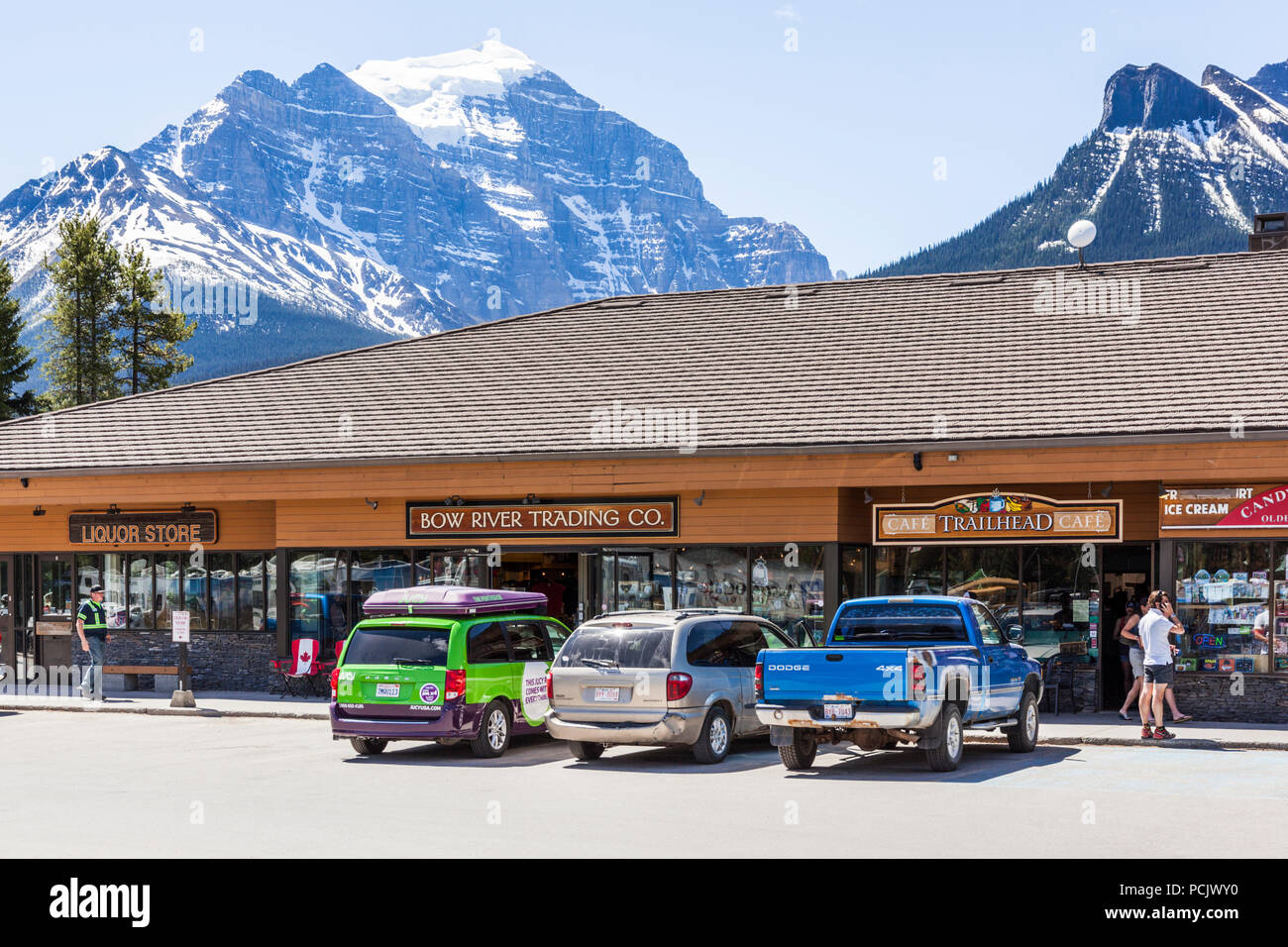 Shopping centre in the town of Lake Louise, Alberta, Canada - Stock Image