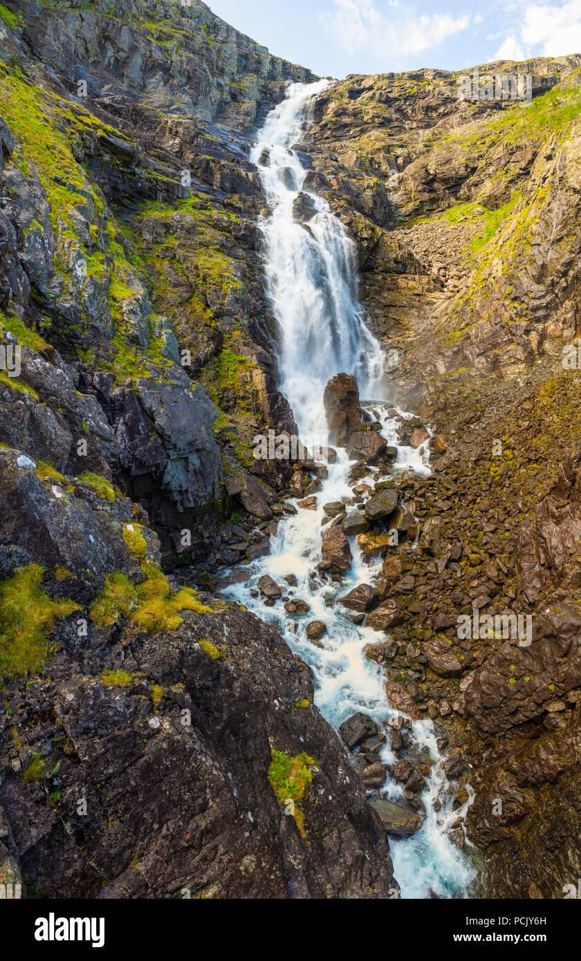 Stigfossen waterfall on Trollstigen road, Norway - Stock Image