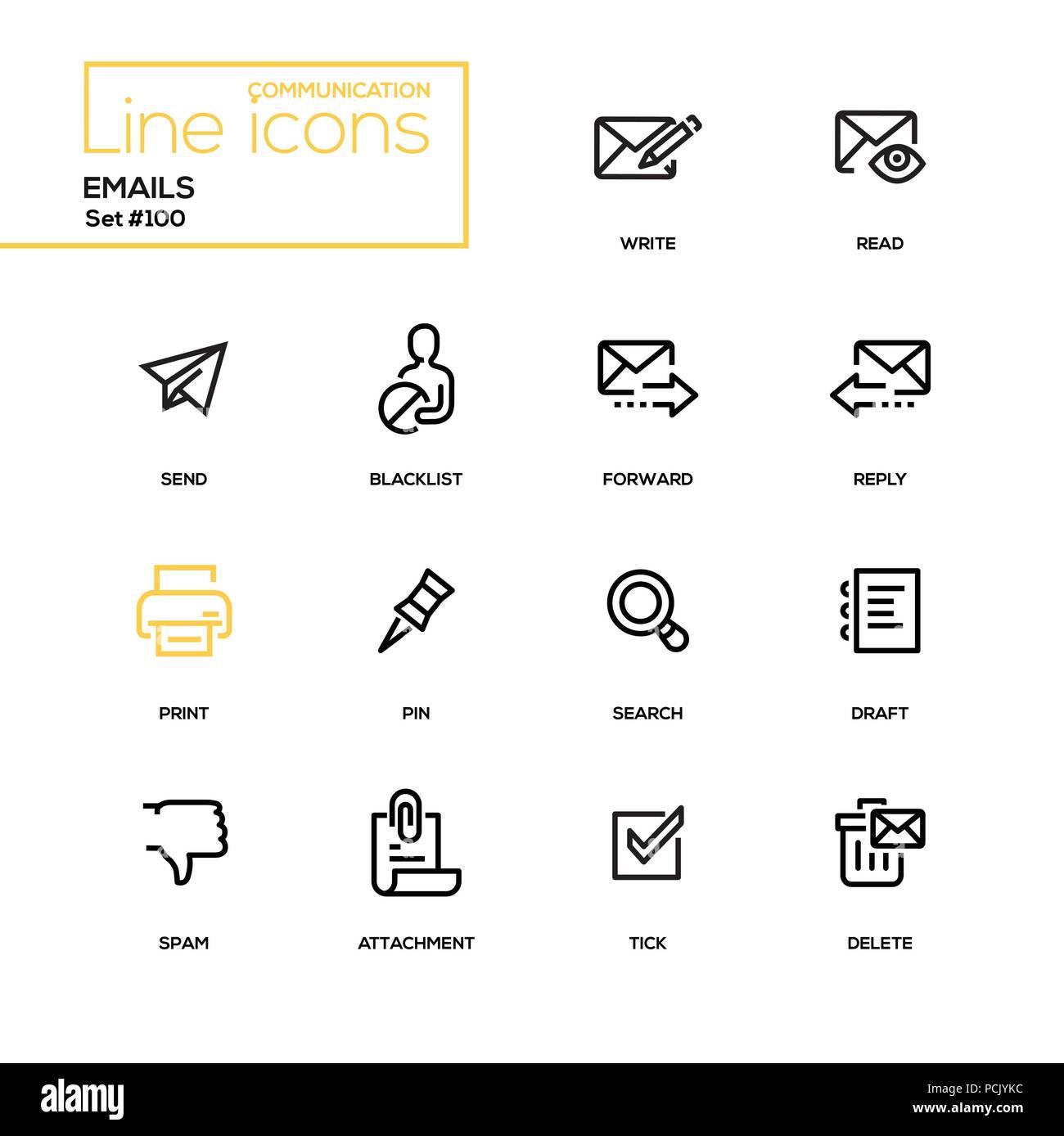 Emails - modern line design icons set - Stock Image
