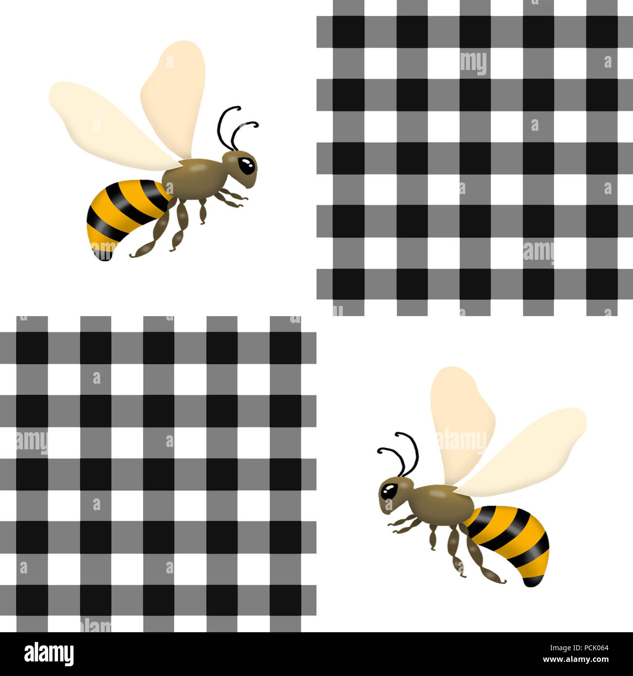 Repeating pattern illustration of honey-type bees on a black and white checkered background. - Stock Image