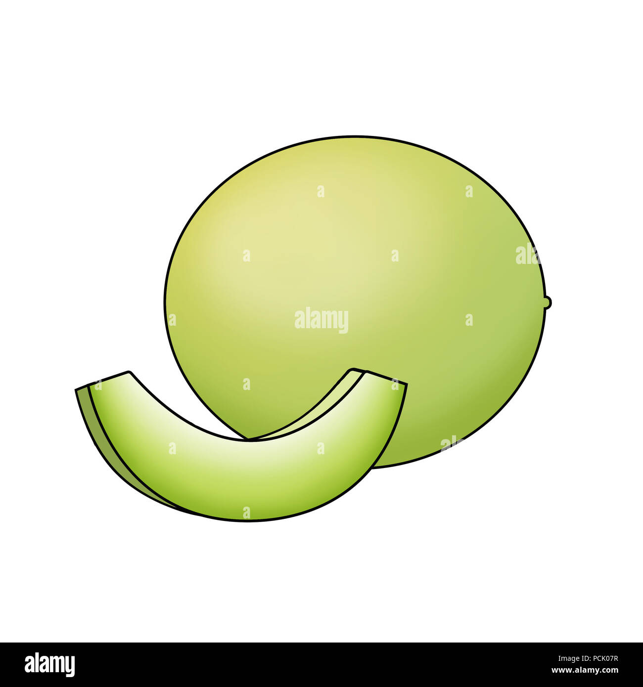Illustration of honeydew melon, one whole and one sliced, against a white background - Stock Image