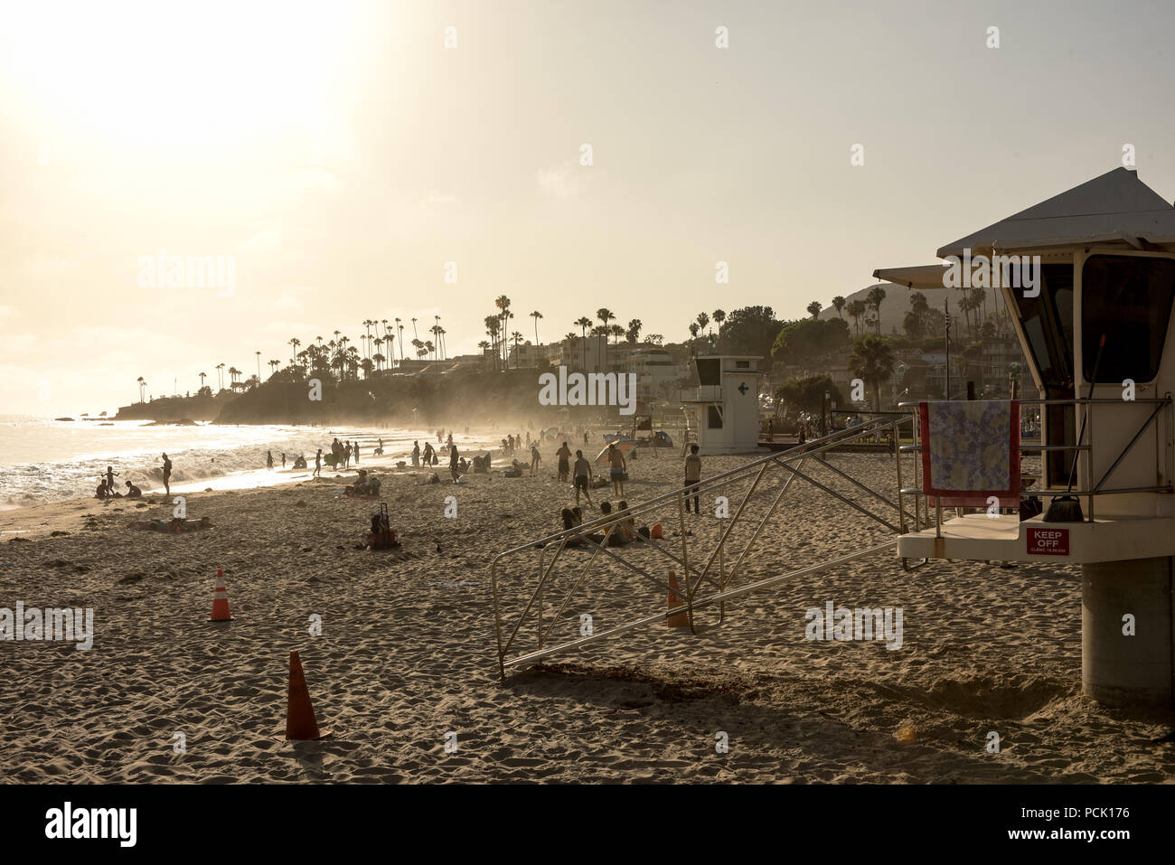 Laguna Beach main beach park and lifeguard tower in the late afternoon and evening Stock Photo