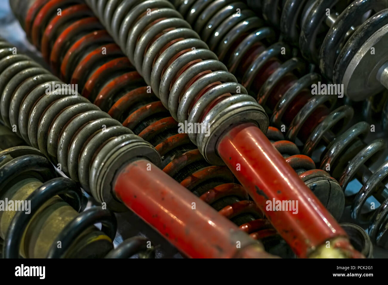 old shock absorbers. - Stock Image