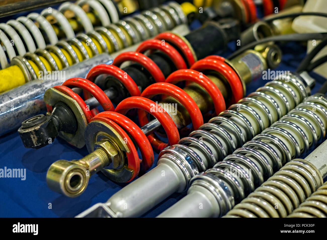 shock absorbers close up - Stock Image