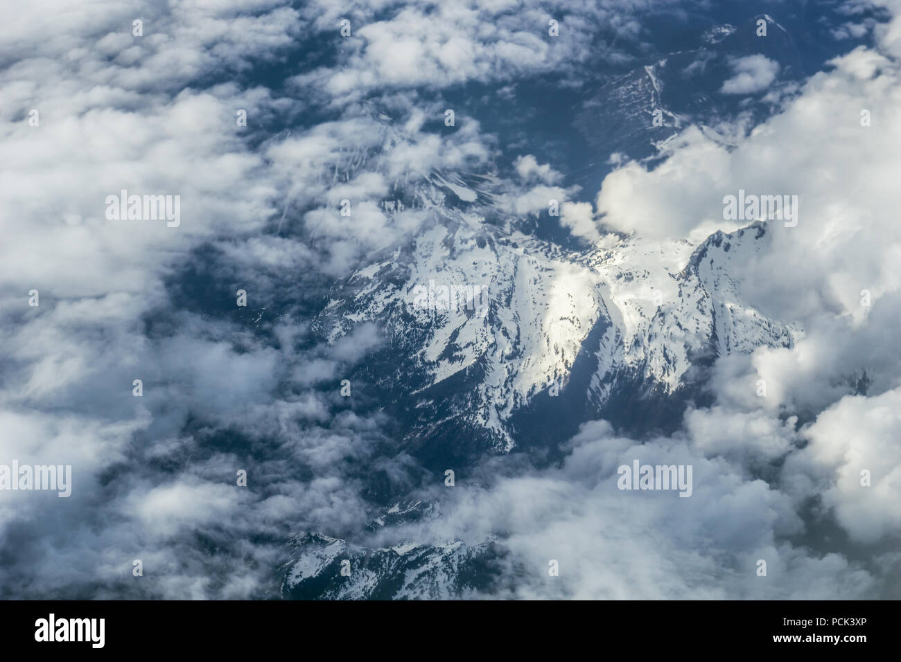 Aerial view of the Selkirk mountains between Naskup, Creston, Cranbrook and Invermere, Central Kootenay H, BC, Canada. - Stock Image