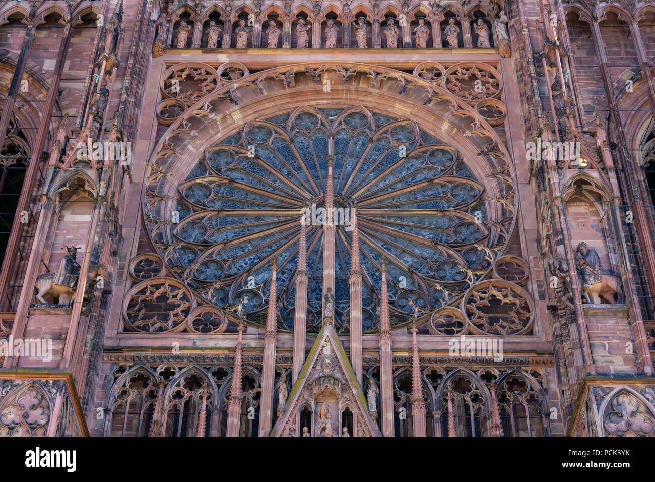 Front Facade Of The Strasbourg Cathedral With Its Rose Window Gothic Architecture