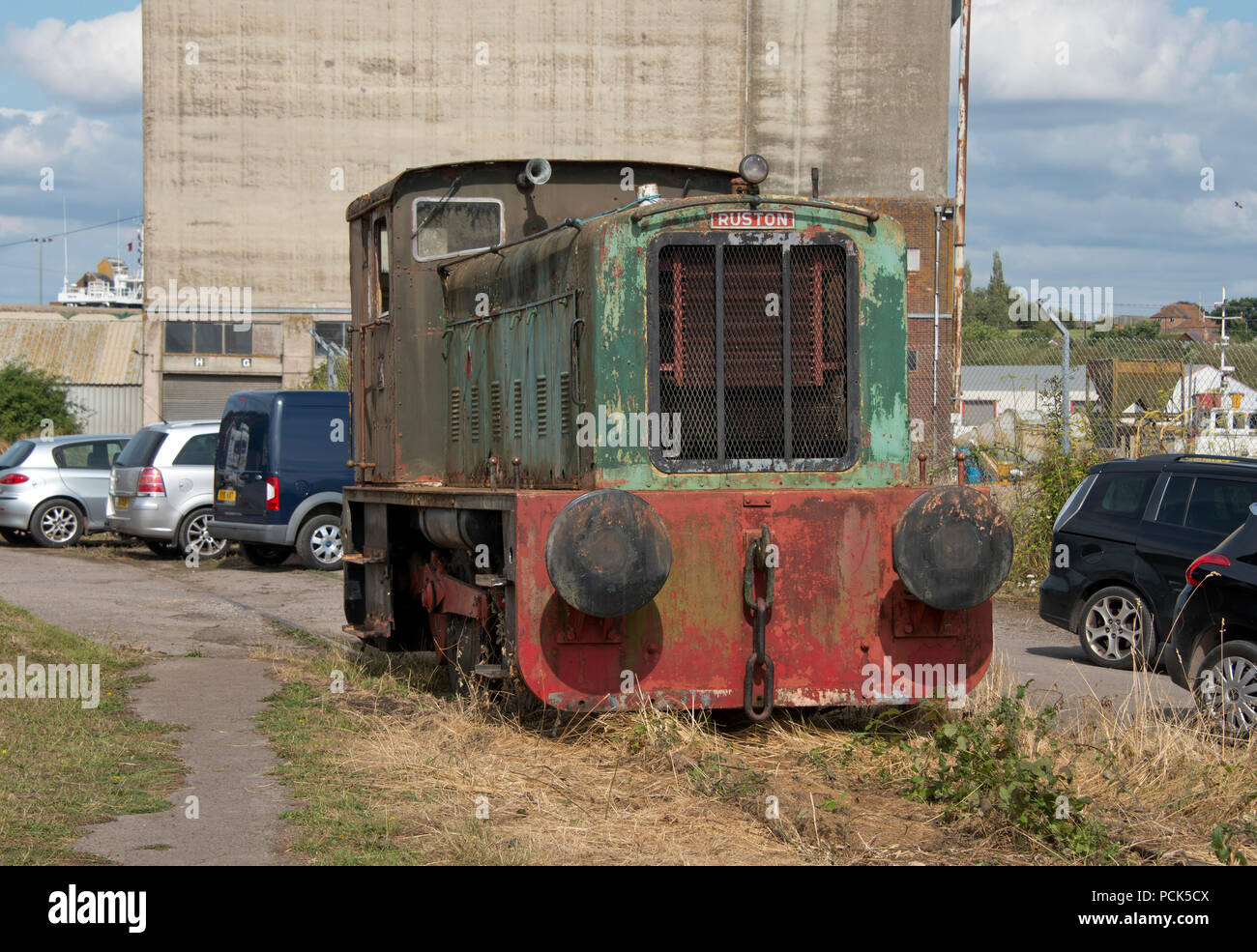 A Ruston diesel locomotive shunting engine at Sharpness Docks, Gloucestershire, United Kingdom - Stock Image