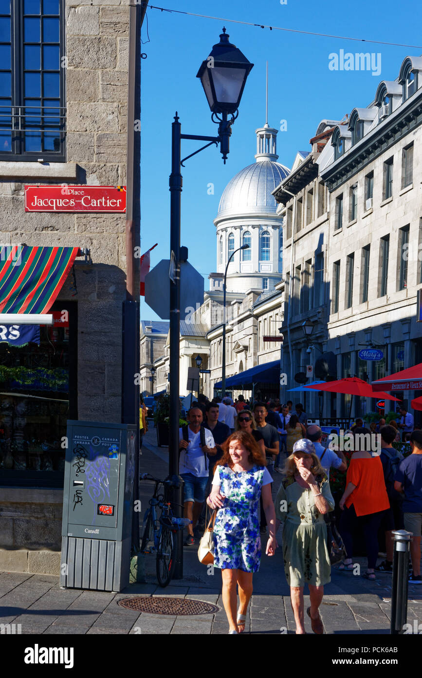 A view from place Jacques Cartier along Rue St Paul in Montreal's ...