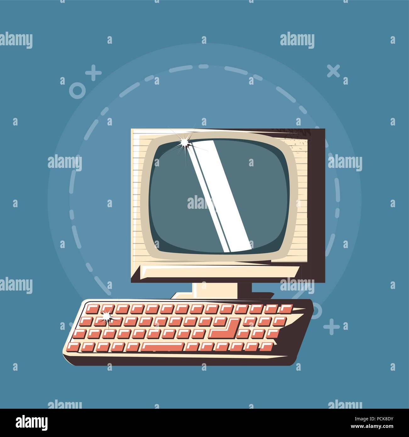 retro computer icon over blue background, colorful design  vector