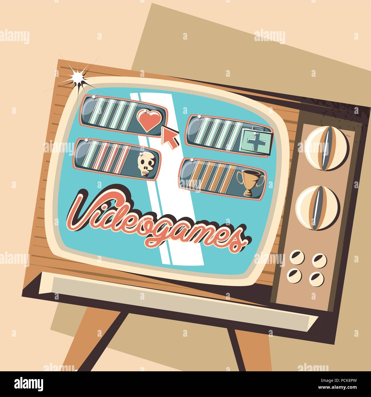 retro videogames design with retro television icon over yellow background, colorful design. vector illustration - Stock Image
