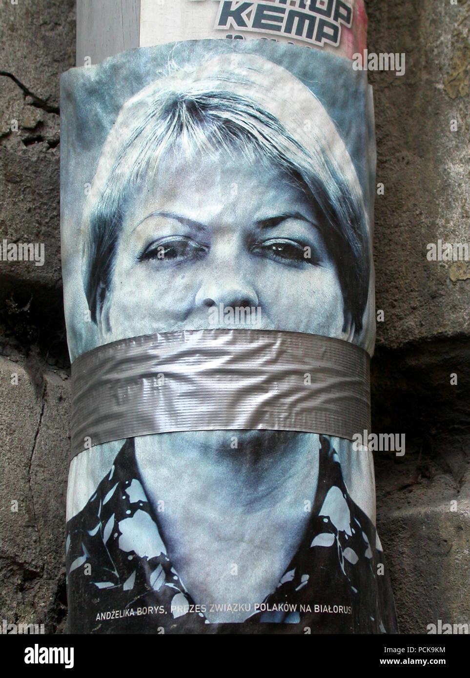 calm,street art,gag,censorship - Stock Image
