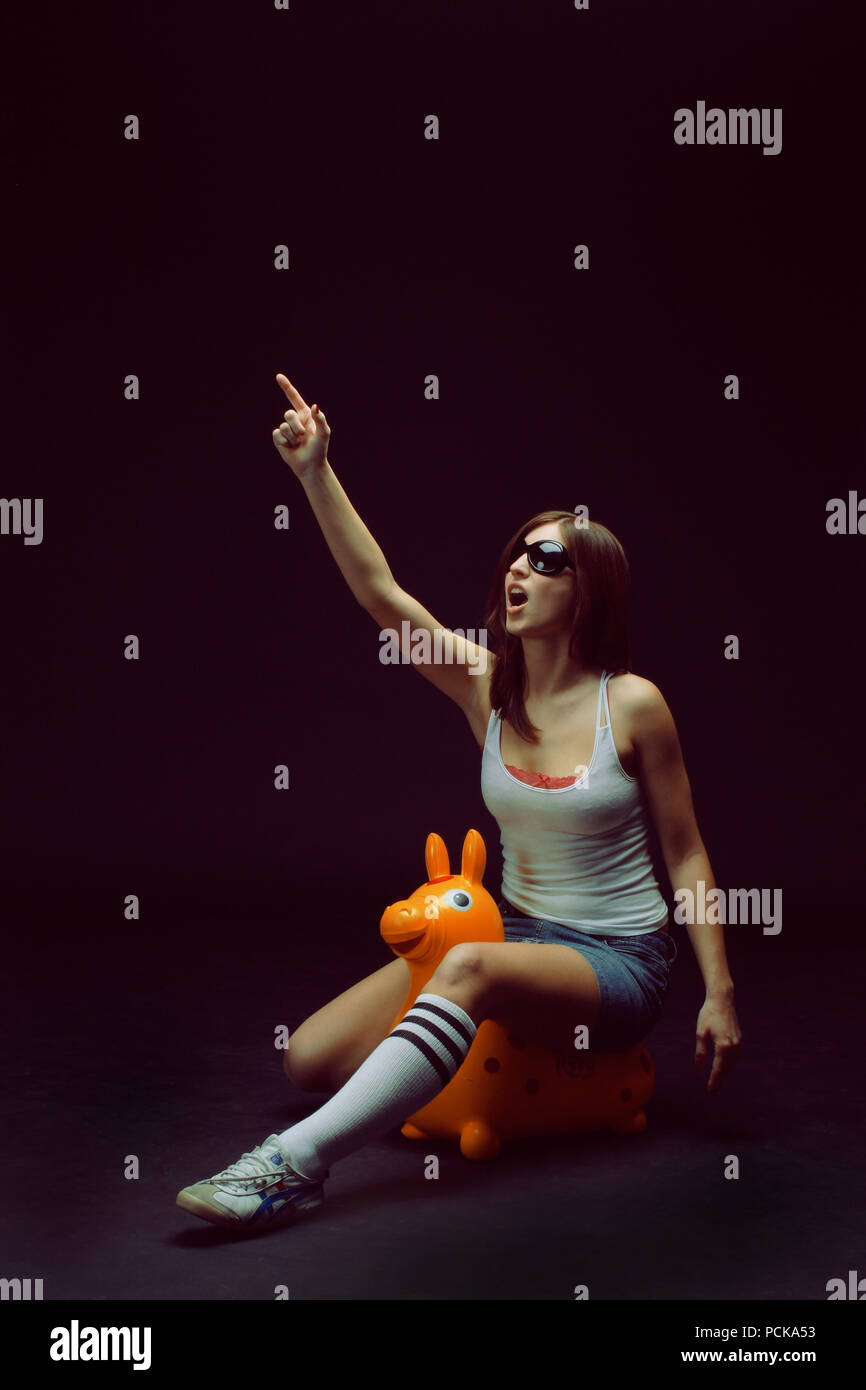 teenager,young woman,woman,fun,happiness - Stock Image