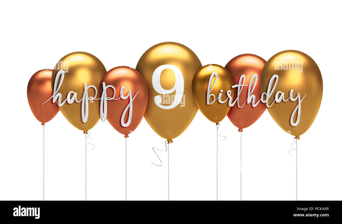 Happy 9th Birthday Gold Balloon Greeting Background 3D Rendering