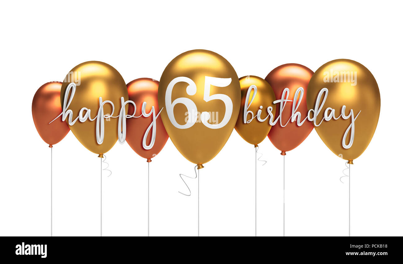 Happy 65th Birthday Gold Balloon Greeting Background 3D Rendering