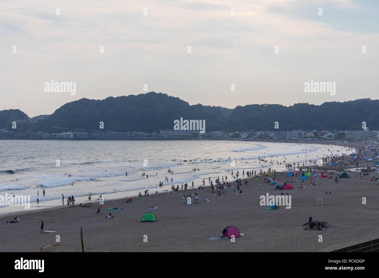 Yuigahama Beach and Kamakura Zaimokuza Beach, early evening; Kamakura, Kanagawa Prefecture, Japan - Stock Image
