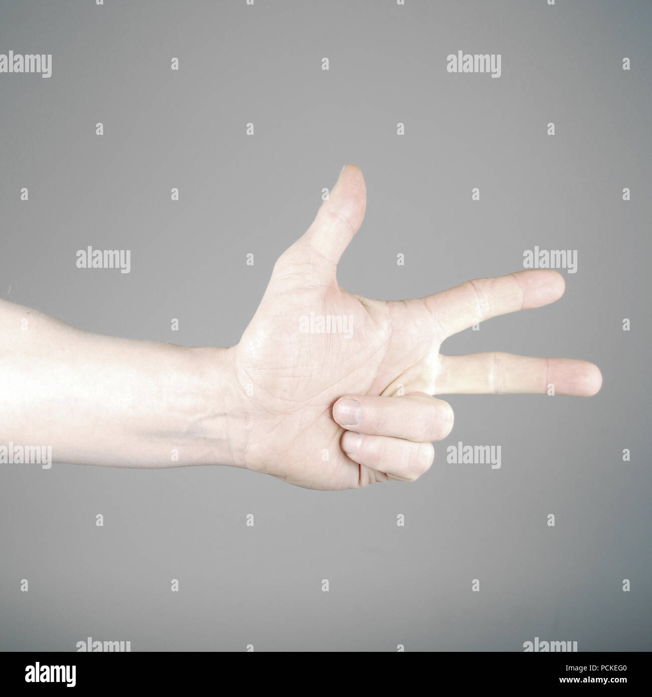 three,hand,enumeration - Stock Image