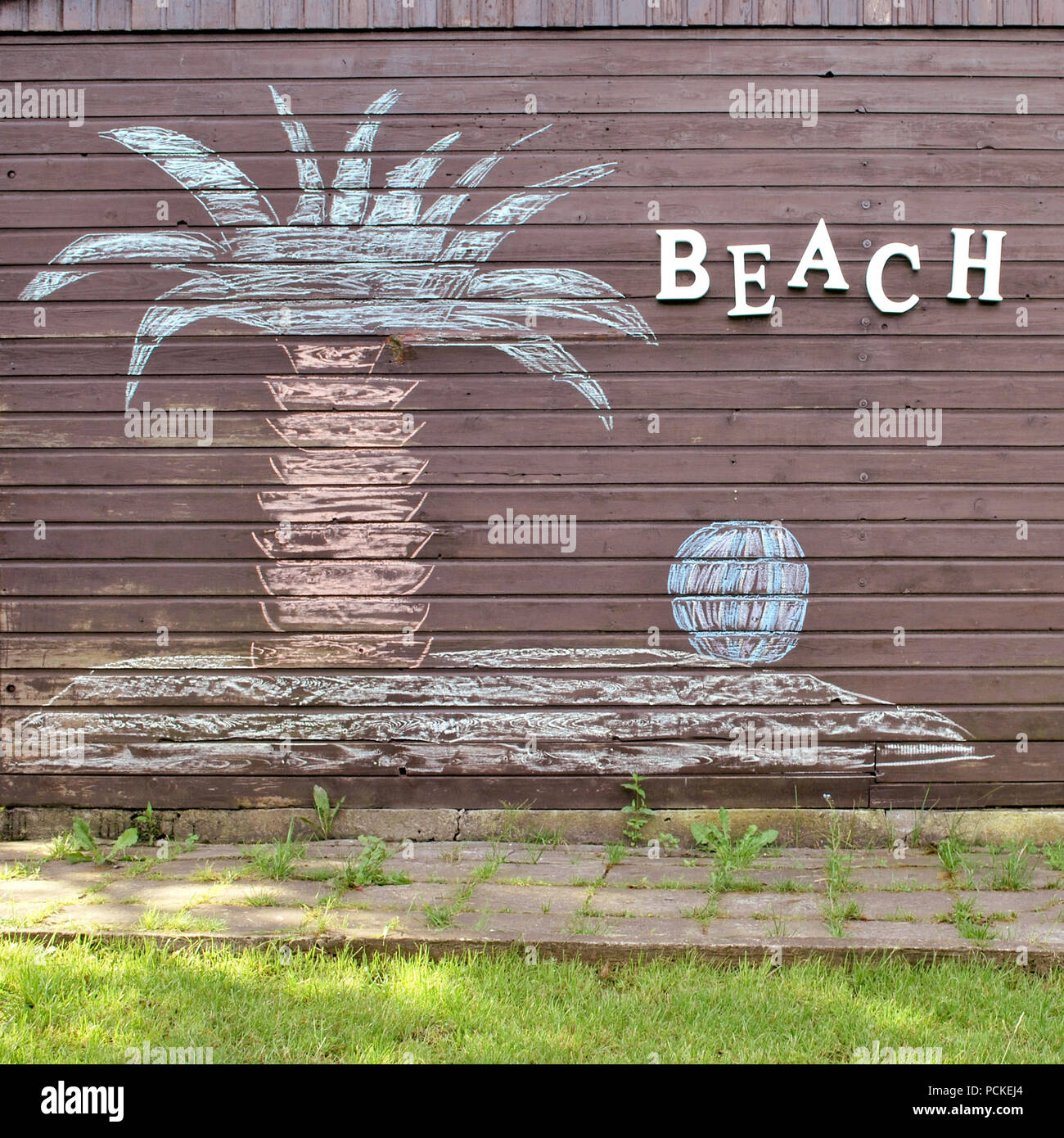 beach,child's drawing,chalk drawing - Stock Image