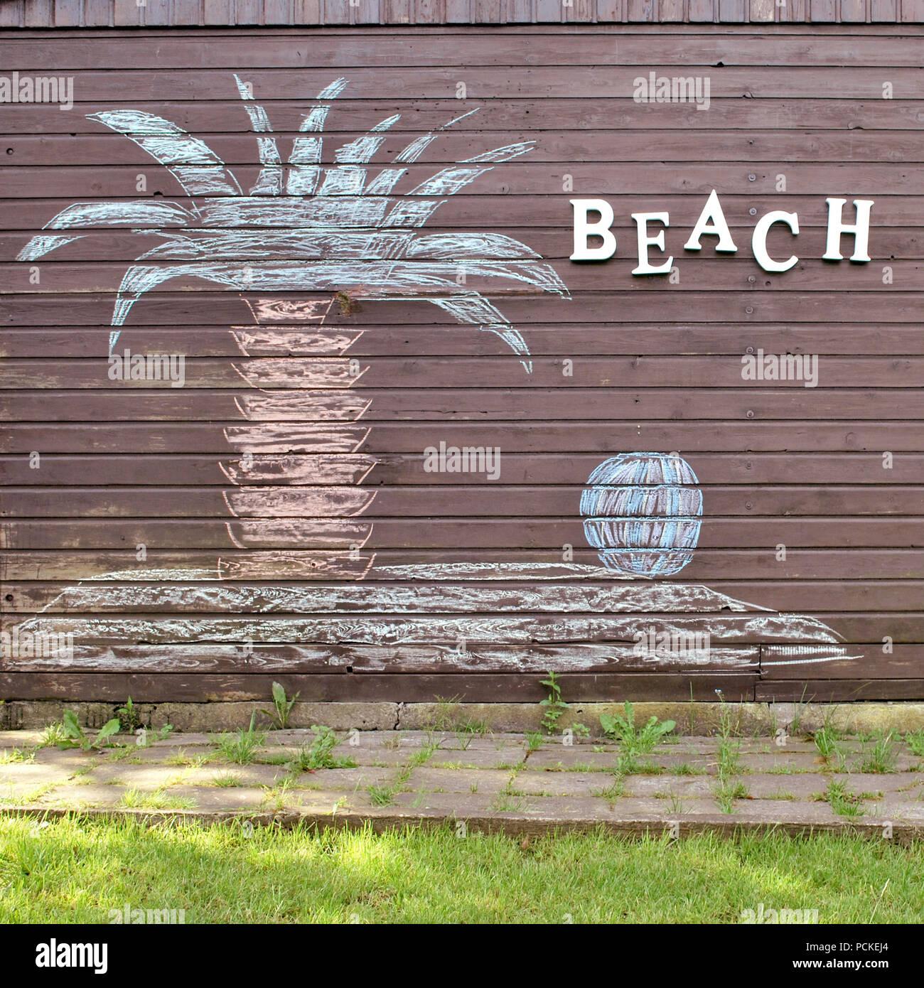 beach,child's drawing,chalk drawing Stock Photo