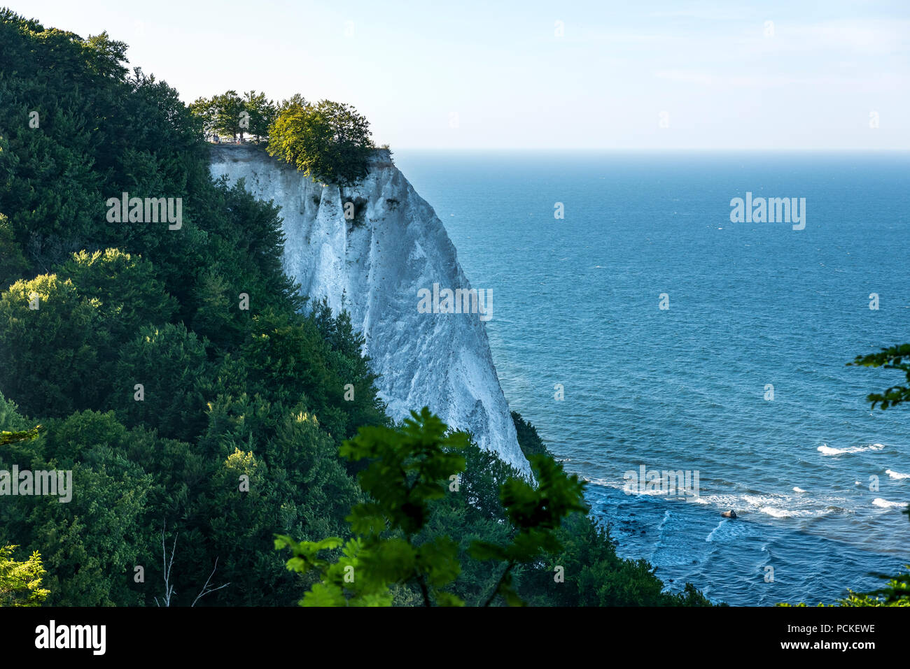 View of Königsstuhl King`s Chair is the famous chalk cliff on Rügen Island, Jasmund National Park. Stock Photo