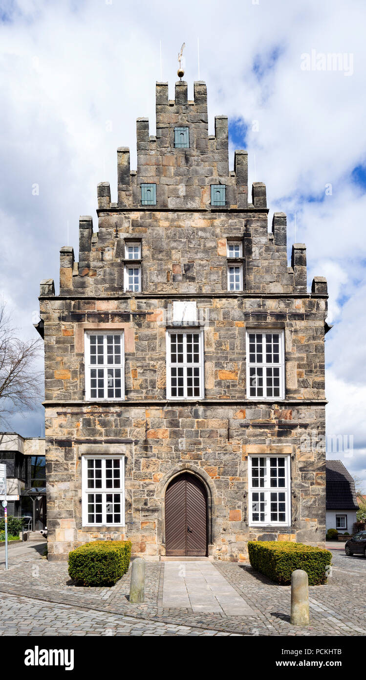 Historic town hall from the 15th century, Bentheim sandstone, Schüttorf, Lower Saxony, Germany - Stock Image