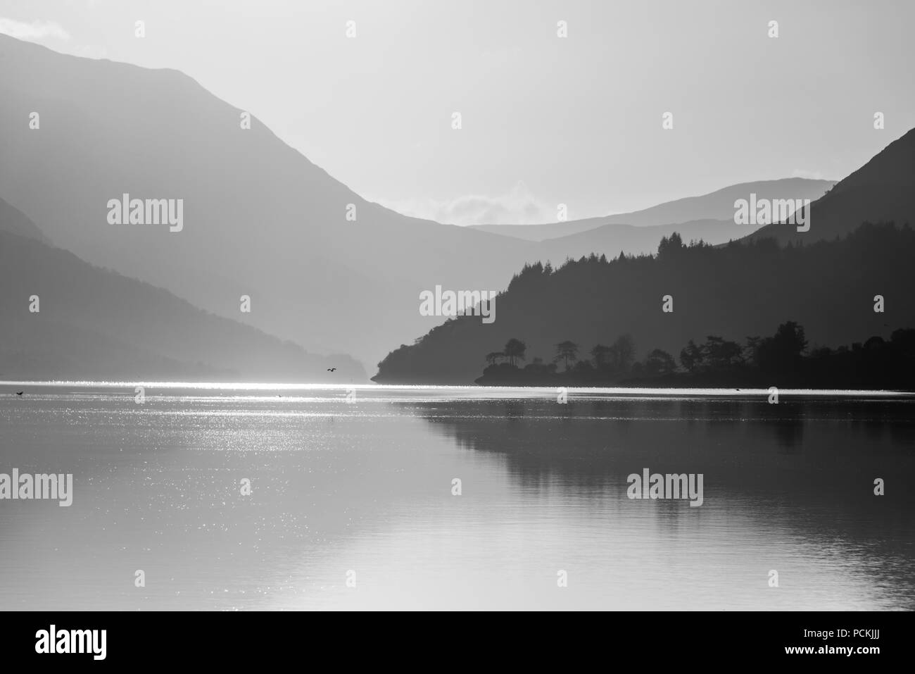 sunrise landscapes over Loch Leven in Ballaculish surroundings in a very clear morning - Stock Image