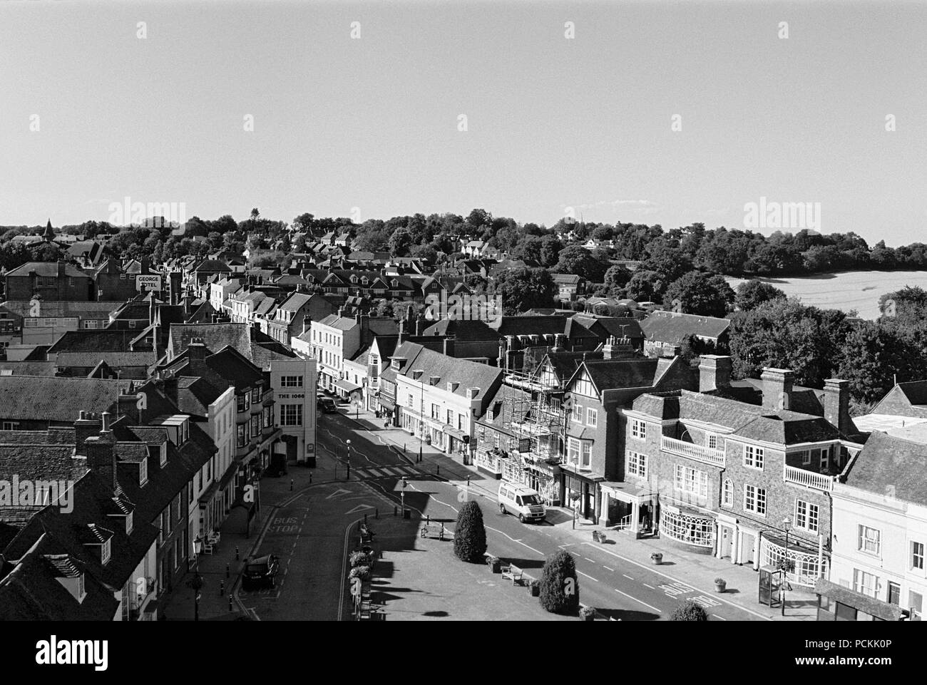 The Abbey Green and High Street at Battle, East Sussex, UK, viewed from the top of Battle Abbey gatehouse - Stock Image