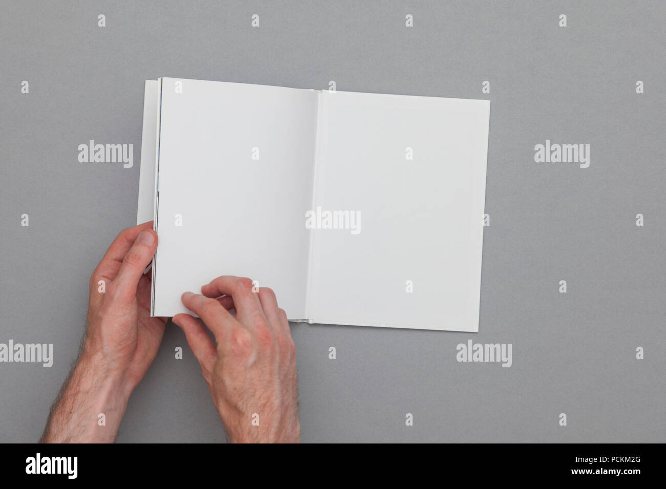 Book Mockup Male Hand Holding Blank Book Stock Photo 214333128