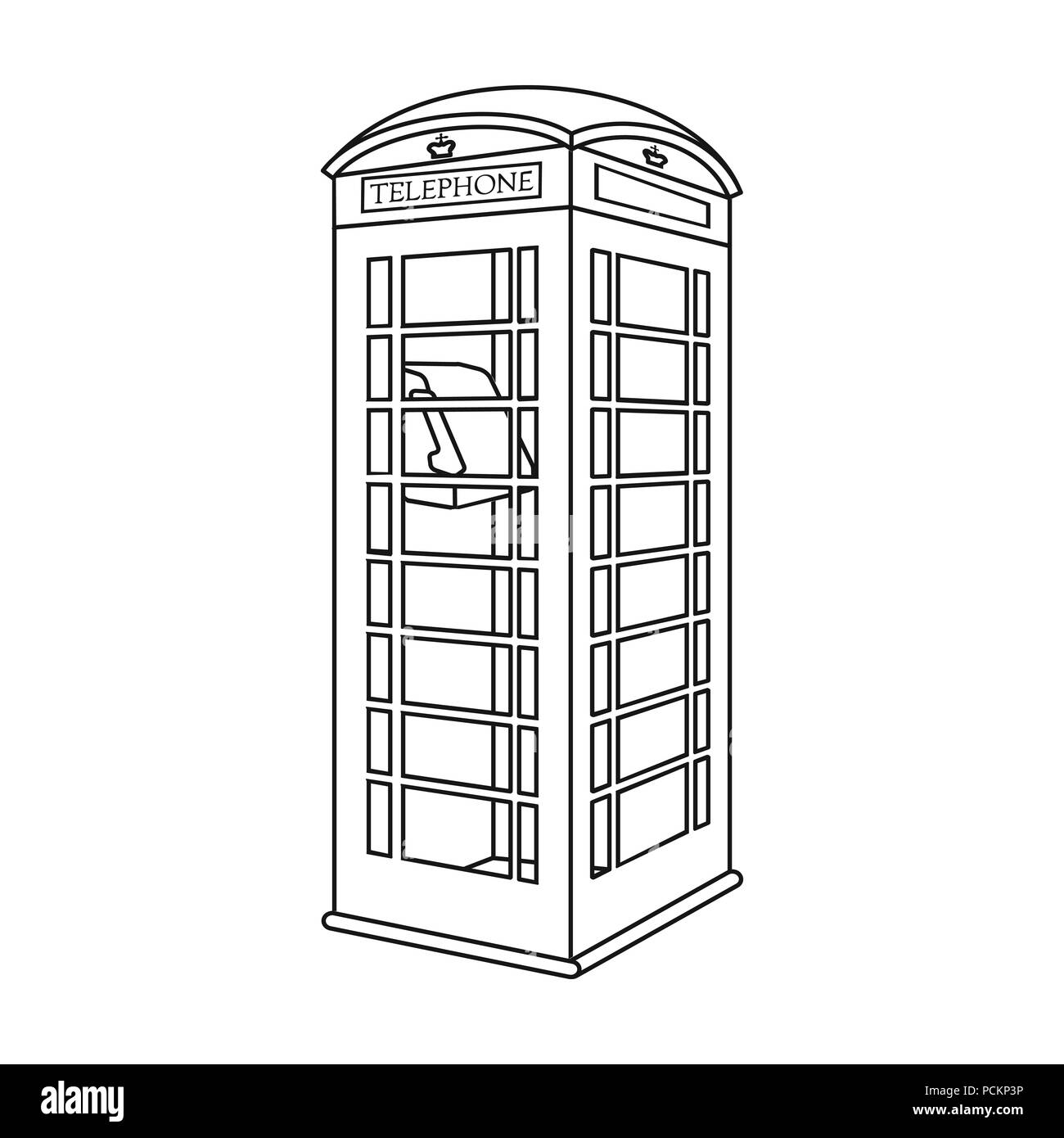 Red phone cabin icon in outline style isolated on white background. England country symbol vector illustration. - Stock Image
