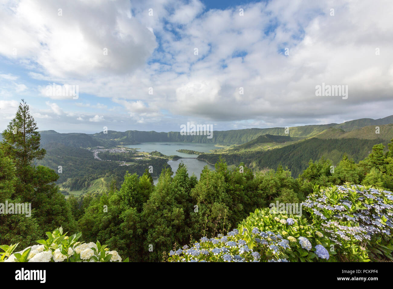Miradouro da Vista do Rei, viewpoint to Sete Cidades, Sao Miguel island, Azores, Portugal - Stock Image