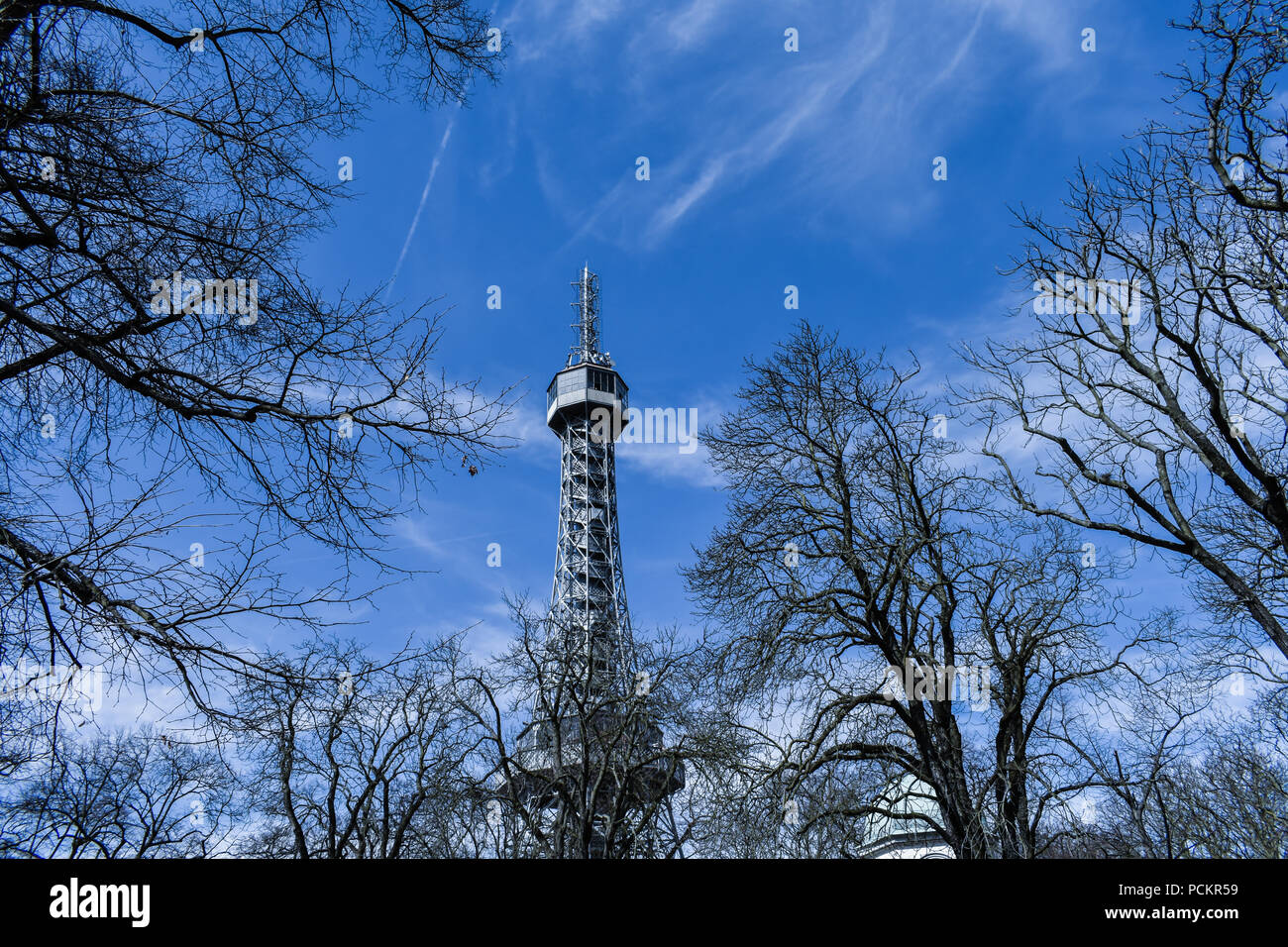 The Petřín Lookout Tower is a 63.5-metre-tall steel-framework tower in Prague, which strongly resembles the Eiffel Tower. - Stock Image