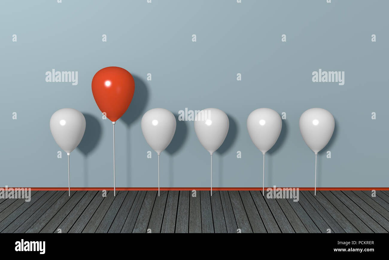 red big balloon under little white, concept stand out from the crowd. 3d rendering - Stock Image