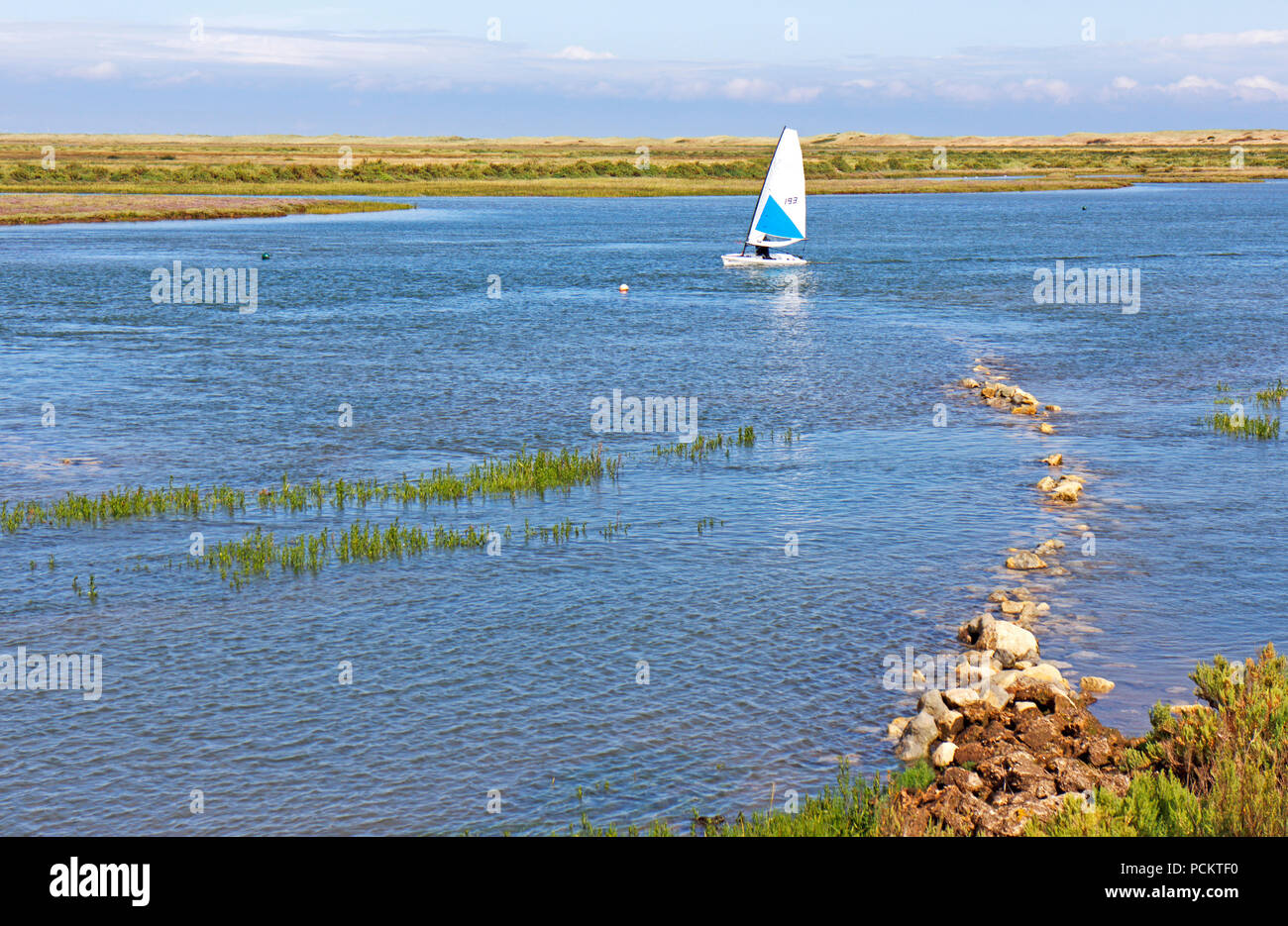 A solo yachtsman inbound at high water in a sailing dinghy in Overy Creek at Burnham Overy Staithe, Norfolk, England, United Kingdom, Europe. - Stock Image